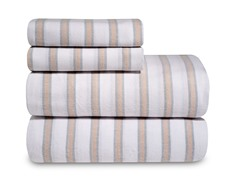 Mini Tan Stripe Flannel Sheet Set-3 Sizes