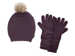 MUK LUKS® Beanie w Texting Glove, Purple