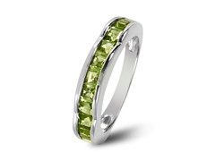 SS Square Cut Peridot Wave Band