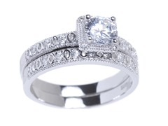 18kt WG Plated SS Engagement Ring Set