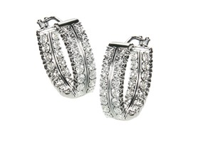 Certified Sterling Silver Double Row Diamond Hoop Earring