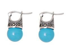 SS Shell Turquoise Genuine Gemstone Marcasite Drop Earrings