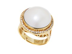 White Mabe Pearl CZ Adjustable Ring