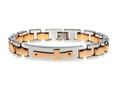 14k Rose Gold Plated Cross Bracelet