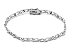 SS XOXO Diamond Accent Tennis Bracelet