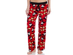 Disney Women's Mickey Mouse Angel Fleece Pant, Red