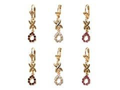 Pink, Ruby, & White Teardrop Set of 3 Drop Earrings