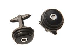 Titanium Round Cufflinks, Black Onyx