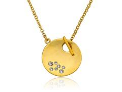 Riccova Retro Satin Finish CZ Studded Circle Toggle Necklace