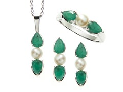 Sterling Silver, Emerald & Pearl Set