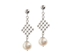 SS Lace Squares With Freshwater Pearl Drops Earring