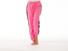 Bottom's Up French Terry Lounge Pants Lace Trim, Pink
