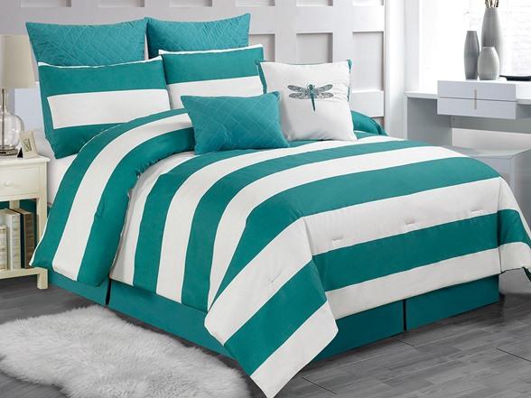 Delia Stripe 8pc Comforter Set Teal Queen
