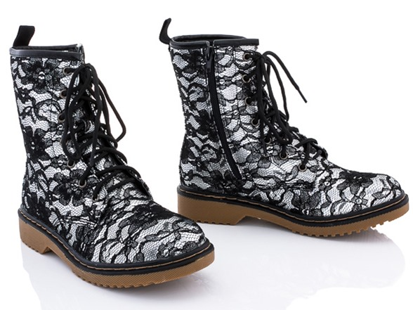 Rasolli Combat Boots, Silver Lace - Woot