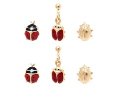 Set of 3 Ladybug Stud & Drop Earrings