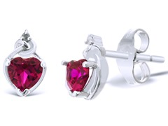 2/3ct Created Ruby Heart Earrings