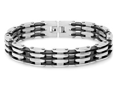 Men's Bicycle Link Bracelet with Rubber