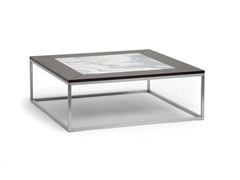 Jezeka Brown Modern Coffee Table with Marble Inlay