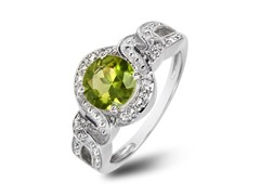 SS Peridot & White Topaz Halo Ring