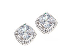 Sterling Silver, Square CZ Halo Earring, Large