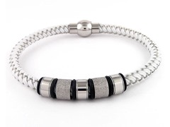Braided Cable Wire Bracelet, White/Silver
