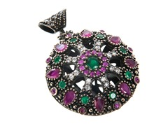 SS Dyed Ruby & Emerald Genuine Semi-Precious Gemstone CZ Pendant