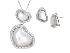 Mother of Pearl Gemstone Earrings & Pdnt