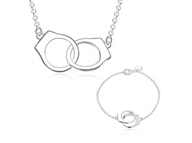 18K White Gold Handcuff Set