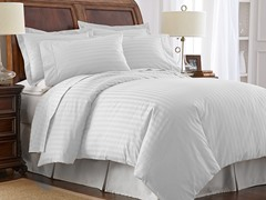 500TC Cotton Duvet Cover Set-White-2 Sizes