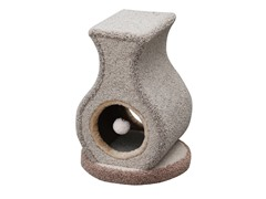 "Carpeted Cat Tree w/Peeking Hole & Teaser 22"" H"