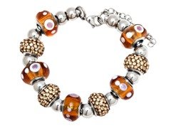 SS Murano Bracelet w/ Brown-Mix Charm