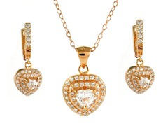 18kt Rose Plated Heart Cut Set