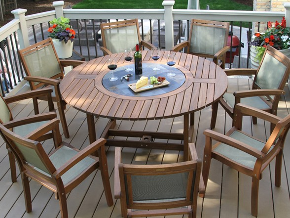 9pc Eucalyptus And Sling Round Dining Set With Built In