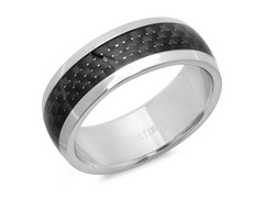 Men's Ring w/ Center Black IP Glaze