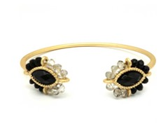 Gold-Plated & Glass Bead Open Bangle - Black