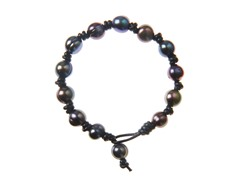 Pearl Bracelet w/ Knotted Leather