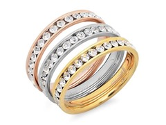 Set of 3 Stackable Rings w/ Plating