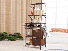 Metal & Rattan Storage Rack