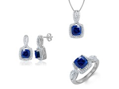 Diamond & Created Sapphire Set