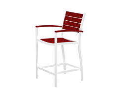 Euro Counter Chair, White/Sunset Red