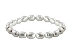 Freshwater Pearl Bracelet, Silver Grey