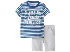 2-Pc Striped Crew Neck w/Shorts (5-7)