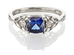 Edgewater 6mm Sapphire Diamond Accent Sterling Ring