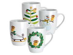 Holiday Hoot 11oz Mugs - Set of 4