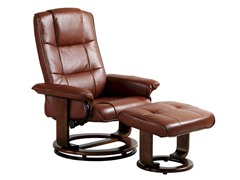 Vintage Faux Leather Recliner w/Ottoman