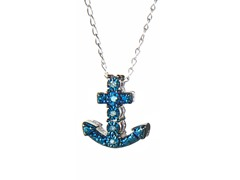 Sterling Silver & Blue Diamond Anchor