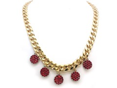 Ruby Circle Crystal Pave Cuban Chain Necklace