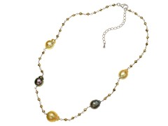 SS Tahitian & Golden South Sea Pearl & Pyrite Necklace