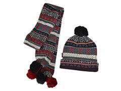 MUK LUKS® Knit Cuff Cap w Scarf, Red/Blk