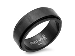 Black IP Mens Spinner Band Ring